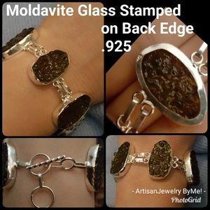 HandmadeMoldavite.925 Stamp Link Bracelet
